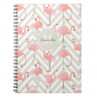 Flamingo and Chevrons Pattern with Your Monogram Notebook