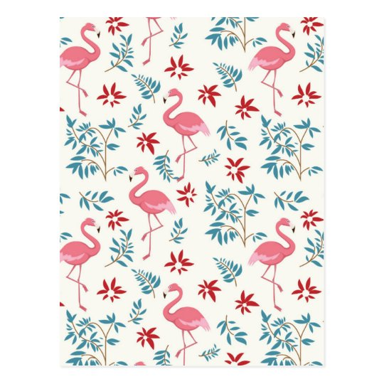 Flamingo And Flowers Postcard