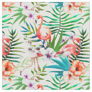 Flamingo and Hibiscus Fabric