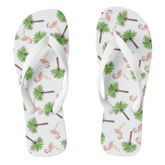 Flamingo And Palm Tree Pattern Flip Flops