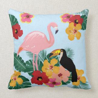 Flamingo and Toucan Pillow