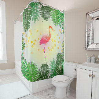Flamingo and Tropical Leaves * Summer Time Madness Shower Curtain