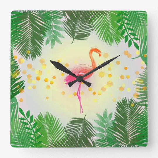 Flamingo and Tropical Leaves * Summer Time Madness