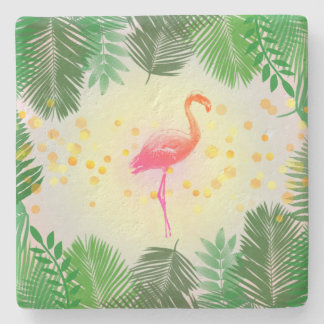 Flamingo and Tropical Leaves * Summer Time Madness Stone Beverage Coaster