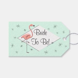Flamingo Aqua diamond Bride to Be! gift tags