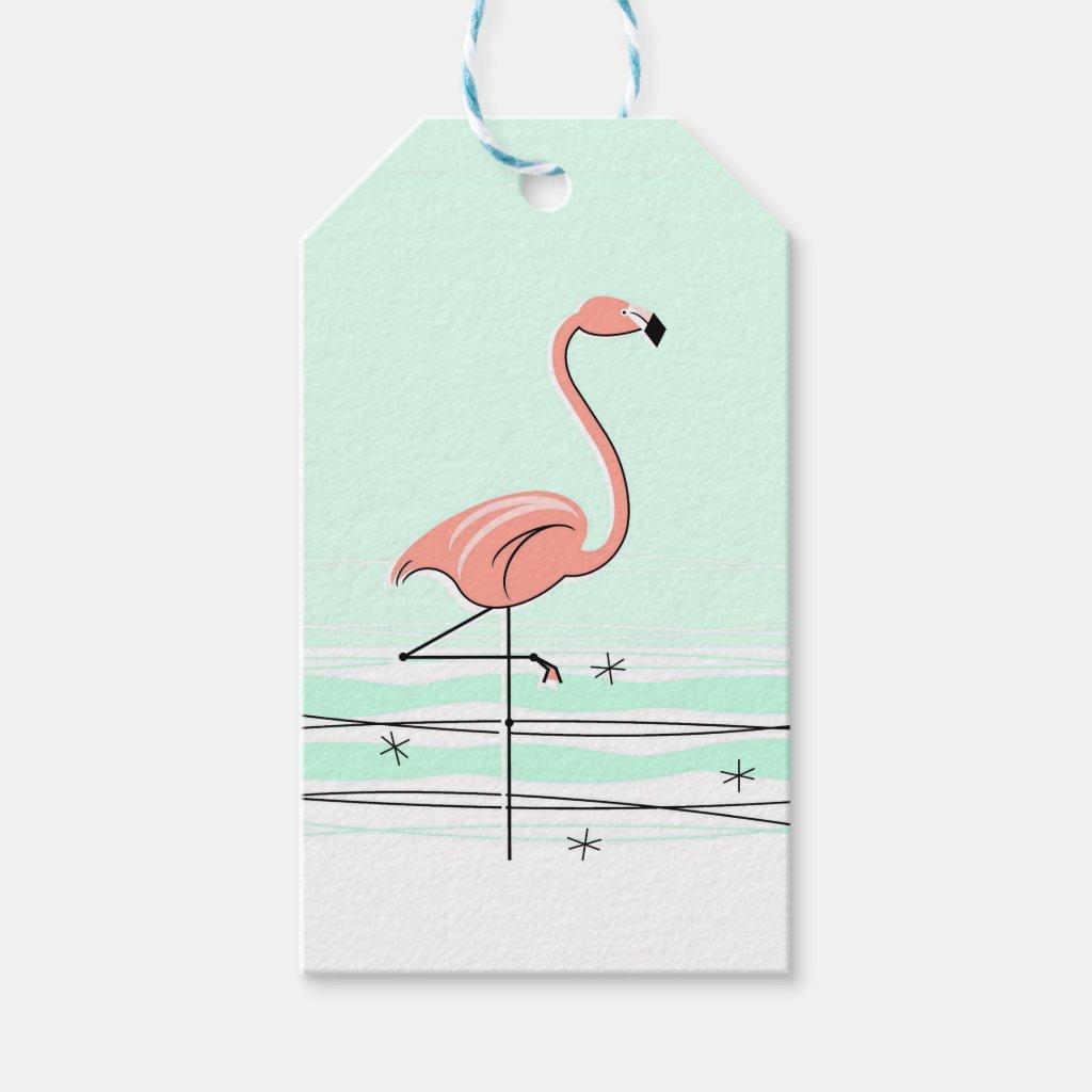Flamingo Aqua gift tags