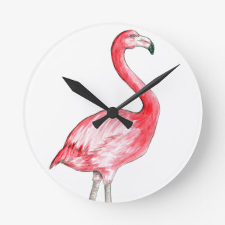Flamingo Art Round Clock