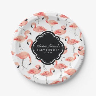 Flamingo Baby Shower 7 Inch Paper Plate