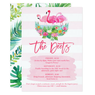 Flamingo Bachelorette Weekend Schedule Detail Card