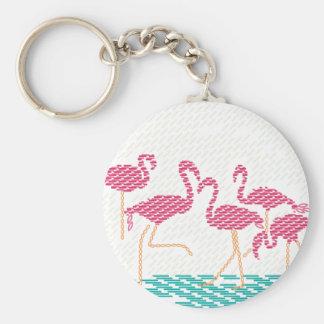 flamingo basic round button key ring