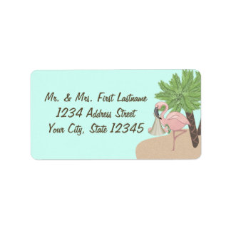 Flamingo Beach Baby with Flip Flops Address Label