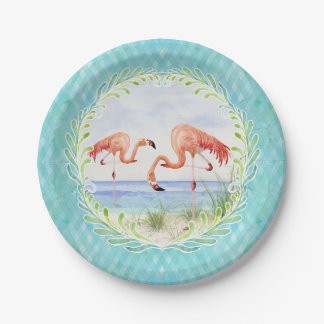 Flamingo Beach Ocean Sandy Shore Picnic Watercolor Paper Plate