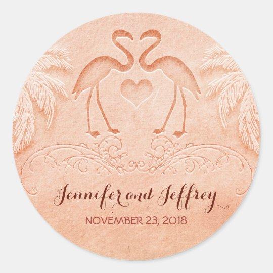 flamingo beach wedding classic round sticker