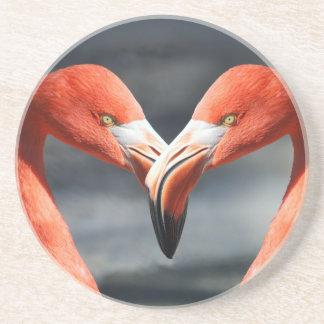 Flamingo bird couple drink coaster