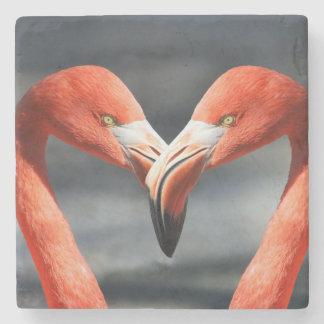 Flamingo bird couple stone beverage coaster