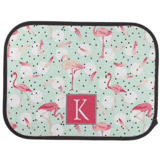 Flamingo Bird With Feathers | Add Your Initial Car Mat