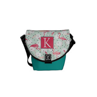 Flamingo Bird With Feathers | Add Your Initial Commuter Bag