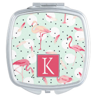 Flamingo Bird With Feathers   Add Your Initial Compact Mirrors