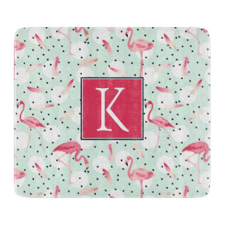Flamingo Bird With Feathers | Add Your Initial Cutting Board