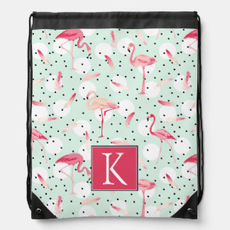 Flamingo Bird With Feathers | Add Your Initial Drawstring Bag