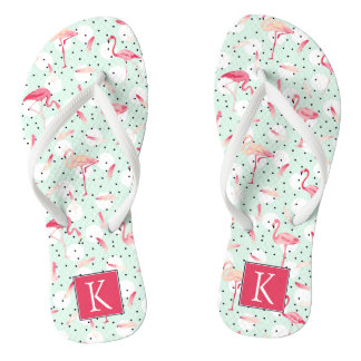 Flamingo Bird With Feathers | Add Your Initial Flip Flops