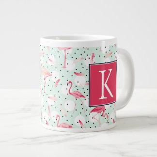 Flamingo Bird With Feathers | Add Your Initial Giant Coffee Mug