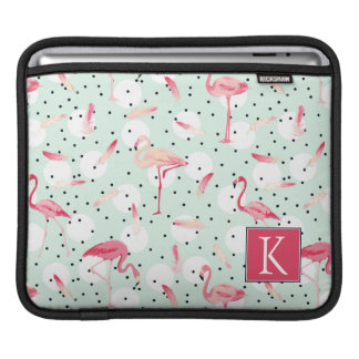 Flamingo Bird With Feathers | Add Your Initial iPad Sleeve