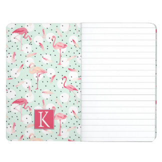 Flamingo Bird With Feathers | Add Your Initial Journal