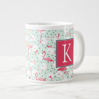 Flamingo Bird With Feathers | Add Your Initial Large Coffee Mug