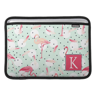 Flamingo Bird With Feathers | Add Your Initial MacBook Sleeve