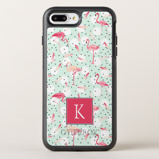 Flamingo Bird With Feathers | Add Your Initial OtterBox Symmetry iPhone 8 Plus/7 Plus Case