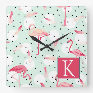 Flamingo Bird With Feathers | Add Your Initial Square Wall Clock