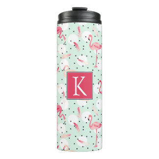 Flamingo Bird With Feathers | Add Your Initial Thermal Tumbler