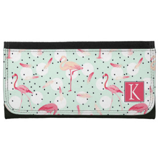 Flamingo Bird With Feathers | Add Your Initial Wallets