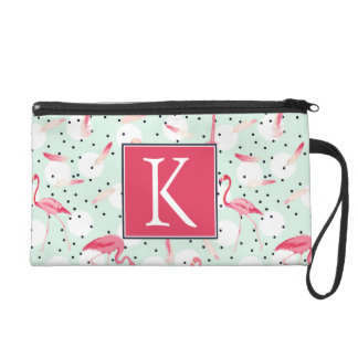 Flamingo Bird With Feathers | Add Your Initial Wristlet