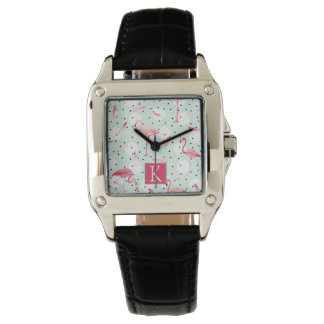 Flamingo Bird With Feathers | Add Your Initial Wristwatches