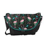 Flamingo Birds 20s Deco Ferns Pattern Black Green Commuter Bag