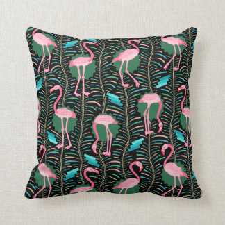 Flamingo Birds 20s Deco Ferns Pattern Black Green Cushion