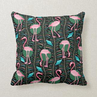 Flamingo Birds 20s Deco Ferns Pattern Black Green Throw Pillow
