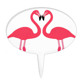 flamingo birds love heart peace and joy cake toppers