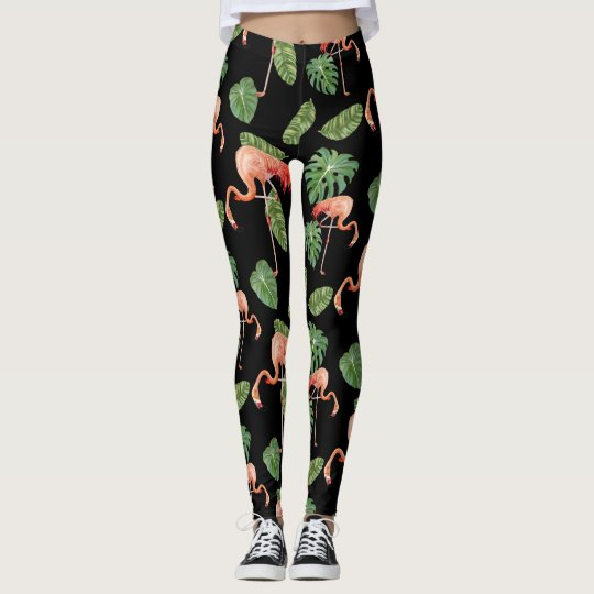 Flamingo Birds Ocean Beach Tropical Leaf Pattern Leggings