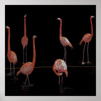 Flamingo Birds Poster