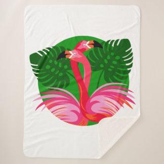 Flamingo Birds Sherpa Blanket