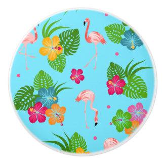 Flamingo Birds with Hibiscus Flowers Ceramic Knob