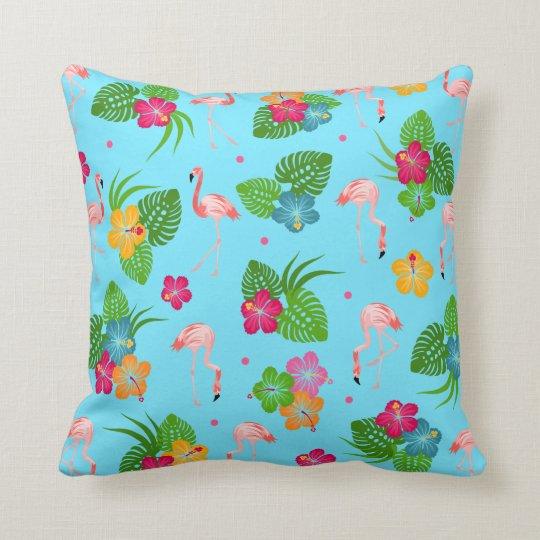 Flamingo Birds with Hibiscus Flowers Cushion