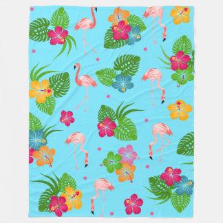 Flamingo Birds with Hibiscus Flowers Fleece Blanket