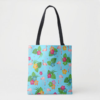 Flamingo Birds with Hibiscus Flowers Tote Bag