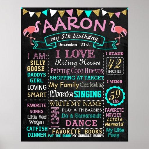 Flamingo Birthday chalkboard sign milestone