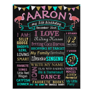 Flamingo Birthday chalkboard sign milestone Poster