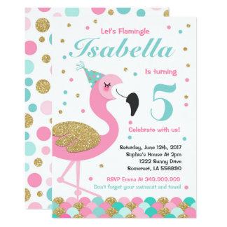 Flamingo Birthday Invitation Topical Pool Party